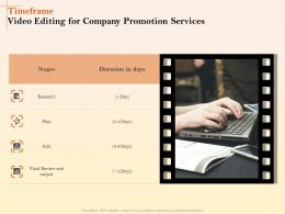 Timeframe Video Editing For Company Promotion Services Ppt Templates