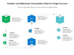 Timeline And Milestones Presentation Slide For Tringle Success Infographic Template