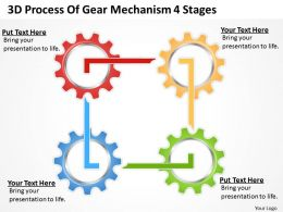 Timeline Chart 3d Process Of Gear Mechanism 4 Stages Powerpoint Slides 0527