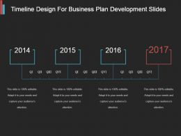 Timeline Design For Business Plan Development Ppt Slides