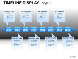 Timeline Display 6 Powerpoint Presentation Slides DB