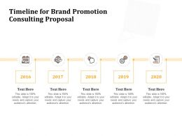 Timeline For Brand Promotion Consulting Proposal Ppt Powerpoint Presentation Gallery Shapes