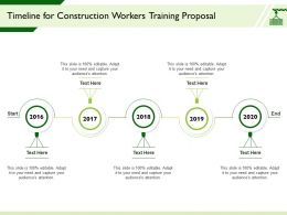 Timeline For Construction Workers Training Proposal 2016 To 2020 Years Ppt Powerpoint Presentation Show
