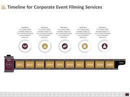 Timeline For Corporate Event Filming Services Ppt Icon