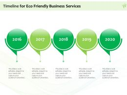 Timeline For Eco Friendly Business Services Ppt Powerpoint Presentation Gallery Icons