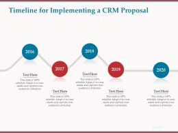 Timeline For Implementing A CRM Proposal Ppt Powerpoint Presentation