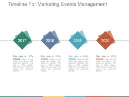 Timeline For Marketing Events Management Presentation Graphics