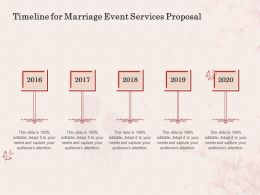 Timeline For Marriage Event Services Proposal Ppt Powerpoint Presentation Ideas