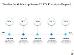 Timeline For Mobile App Screens UI UX Flowcharts Proposal 2016 To 2020 Years Ppt Powerpoint Presentation Visuals