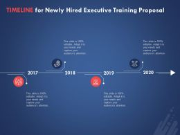 Timeline For Newly Hired Executive Training Proposal Ppt Powerpoint Presentation Template