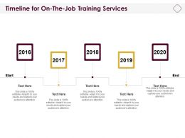Timeline For On The Job Training Services Ppt Powerpoint Presentation Styles