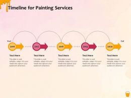 Timeline For Painting Services Ppt Powerpoint Presentation File Slides