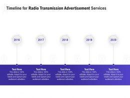 Timeline For Radio Transmission Advertisement Services Ppt File Format Ideas