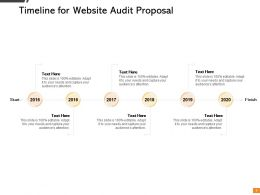 Timeline For Website Audit Proposal Ppt Powerpoint Presentation Background Images
