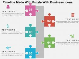 Timeline Made With Puzzle With Business Icons Flat Powerpoint Design