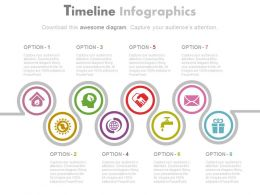 Timeline With Business Icons For Global Communication Flat Powerpoint Design