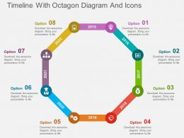 Timeline With Octagon Diagram And Icons Flat Powerpoint Design