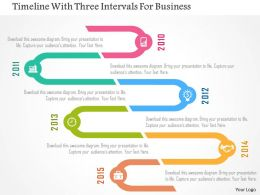Timeline With Three Intervals For Business Flat Powerpoint Design