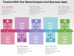 Timeline With Year Based Analysis And Business Apps Flat Powerpoint Design