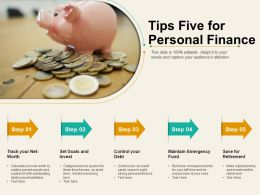 Tips Five For Personal Finance