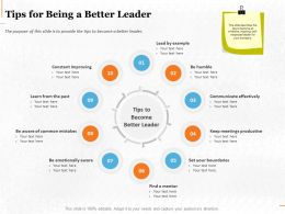 Tips For Being A Better Leader Ppt Powerpoint Presentation Professional Ideas