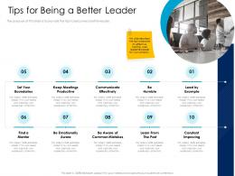 Tips For Being A Better Leader Productive Leaders Vs Managers Ppt Powerpoint Presentation Slides Objects