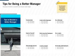Tips For Being A Better Manager Leadership And Management Learning Outcomes Ppt Picture