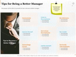 Tips For Being A Better Manager Ppt Powerpoint Presentation Layouts Master Slide