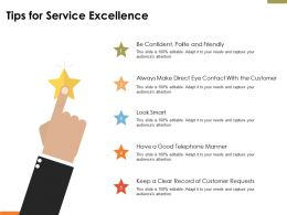 Tips For Service Excellence Ppt Powerpoint Presentation File Visual Aids