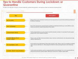 Tips To Handle Customers During Lockdown Or Quarantine Clients Ppt Powerpoint Presentation Ideas Tips