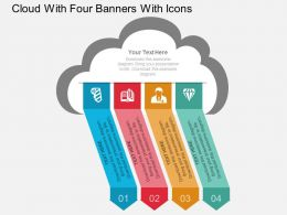 tk Cloud With Four Banners With Icons Flat Powerpoint Design