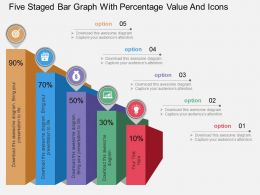 tl Five Staged Bar Graph With Percentage Value And Icons Flat Powerpoint Design