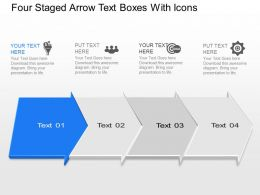 Tl Four Staged Arrow Text Boxes With Icons Powerpoint Template Slide