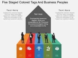 tm Five Staged Colored Tags And Business Peoples Flat Powerpoint Design