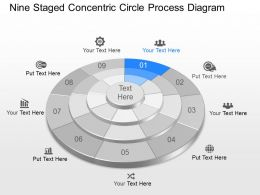 Tn Nine Staged Concentric Circle Process Diagram Powerpoint Template Slide