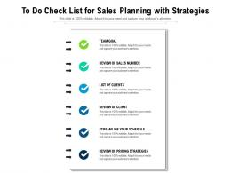 To Do Check List For Sales Planning With Strategies