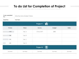 To Do List For Completion Of Project