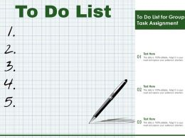 To Do List For Group Task Assignment