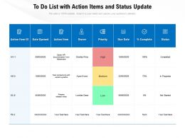 To Do List With Action Items And Status Update