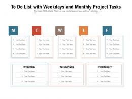 To Do List With Weekdays And Monthly Project Tasks