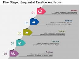 to Five Staged Sequential Timeline And Icons Flat Powerpoint Design