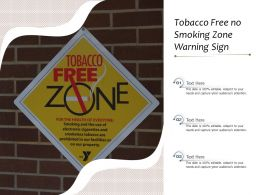 Tobacco Free No Smoking Zone Warning Sign
