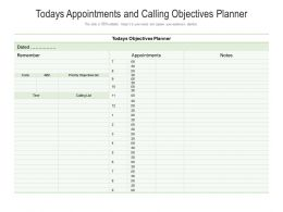 Todays Appointments And Calling Objectives Planner