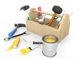 Tool Box With Hammer Spanner Screwdriver With Paint Roller Brush Tape Stock Photo