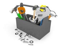 Tool Box With Hammer Wrench Spanner With Nut Bolts Kit Stock Photo
