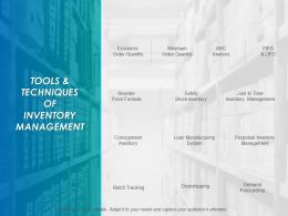 Tools And Techniques Of Inventory Management Ppt Layouts Example