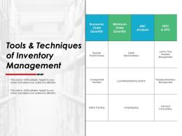 Tools And Techniques Of Inventory Management Ppt Powerpoint Presentation Gallery Templates