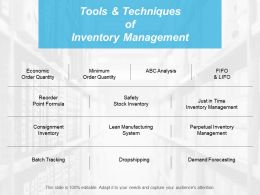 Tools And Techniques Of Inventory Management Ppt Professional Format