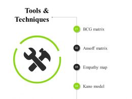 Tools And Techniques Presentation Pictures