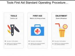 Tools First Aid Standard Operating Procedure At Workplace With Icons